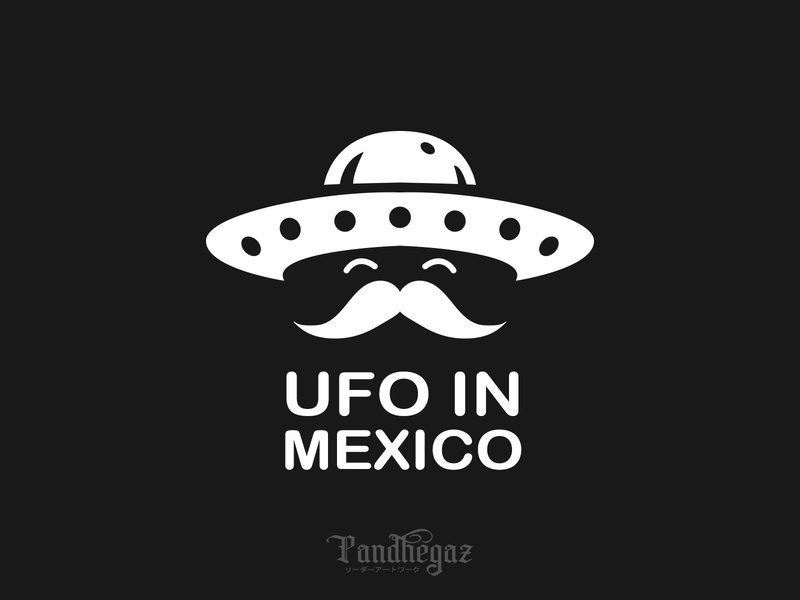 UFO in Mexico negative space logo pandhegaz celebration floral ornate decorative festival graphic mexican symbol holiday logo head vector design alien mexico ufo illustration sign
