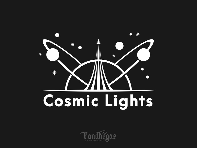 Cosmic Lights negative space logo pandhegaz concept science isolated emblem astronomy planet technology universe icon design element illustration logo space vector symbol galaxy