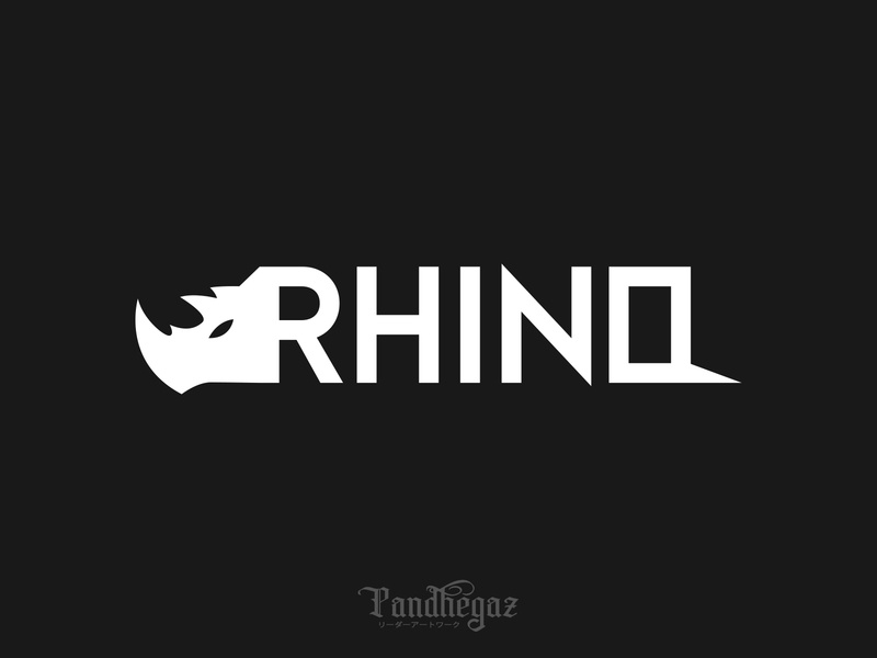 Rhino negative space logo pandhegaz wildlife element wild silhouette shape rhinoceros creative concept illustration animal logo sign icon symbol vector design rhino graphic