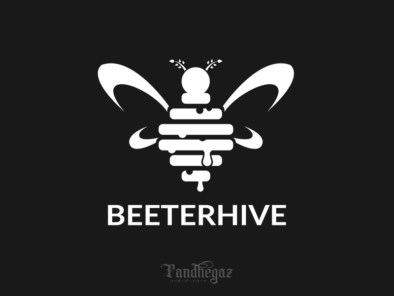 Betterhive negative space logo pandhegaz nature healthy graphic illustration hive sweet design food element honeycomb bee symbol icon beehive vector honey logo