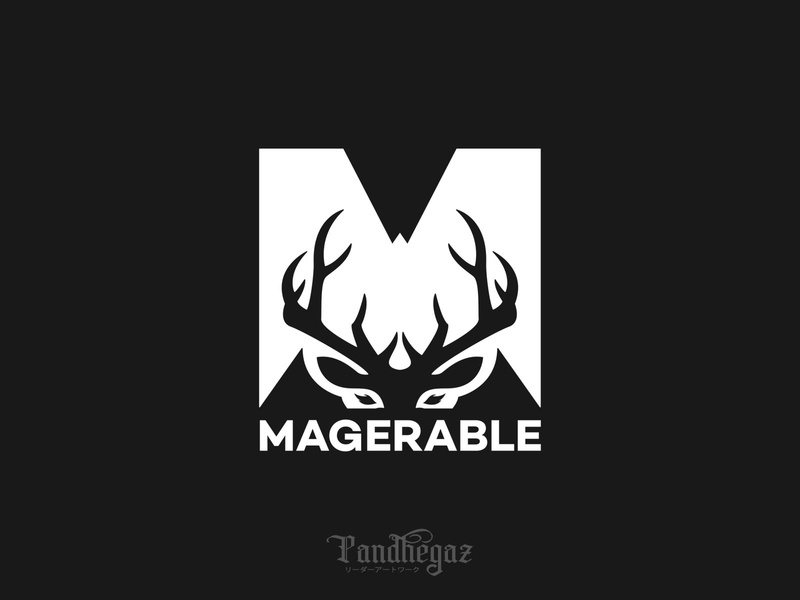 Magerable pandhegaz negative space logo letter black vintage nature sign element wildlife animal wild icon art illustration graphic symbol design logo deer vector