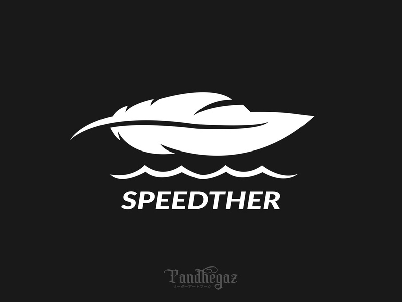 Speedther negative space logo pandhegaz transportation nautical tour boat transport tourism abstract company vacation identity floating wave summer speed sea marine race feather