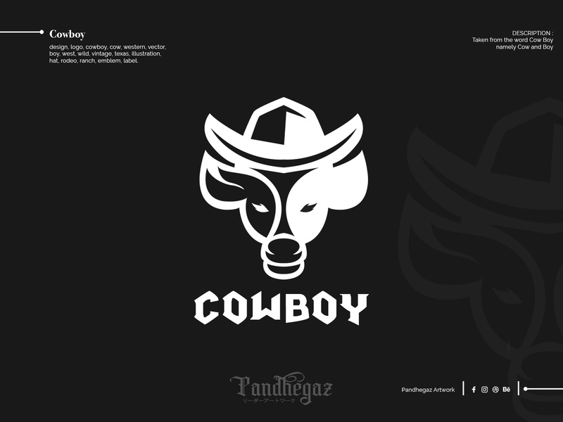COWBOY pandhegaz negative space logo double meaning dual meaning emblem ranch rodeo hat illustration texas vintage wild west boy vector western cow cowboy logo design