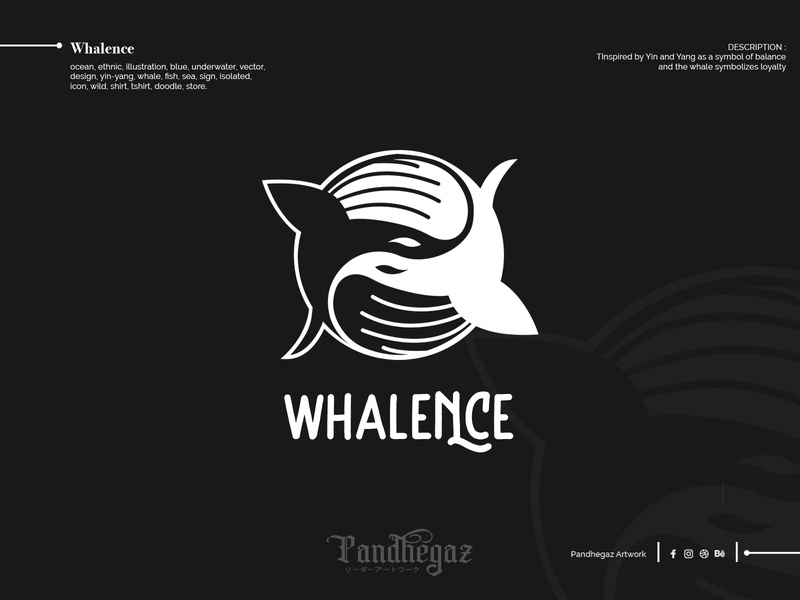 Whalence pandhegaz negative space logo double meaning dual meaning shirt wild icon isolated sign sea fish whale yin-yang design vector underwater blue illustration ethnic ocean