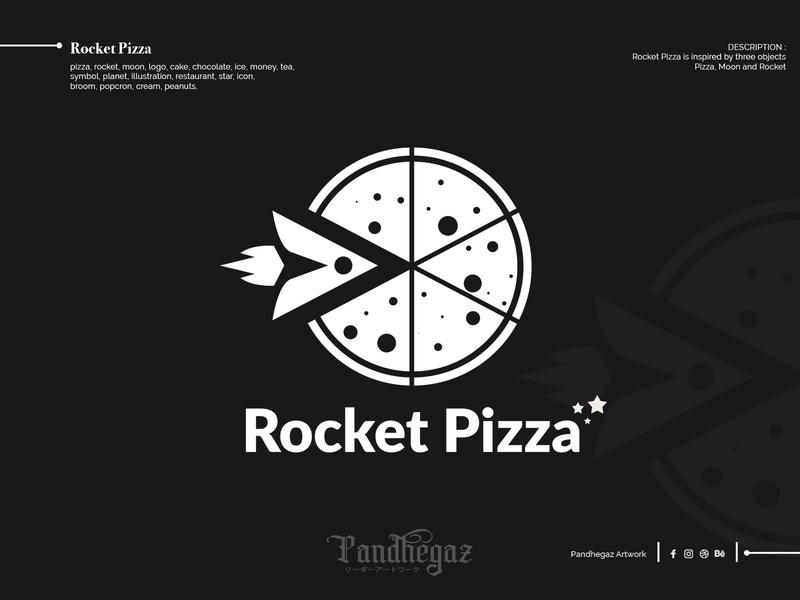 Rocket Pizza pandhegaz double meaning logo. dual meaning logo negative space logo broom icon star restaurant illustration planet symbol tea money ice chocolate cake logo moon rocket pizza