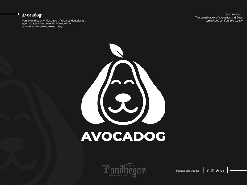 Avocadog double meaning logo dual meaning logo negative space logo pandhegaz cartoon vector donut symbol isolated pizza sign design dog set food illustration logo avocado icon