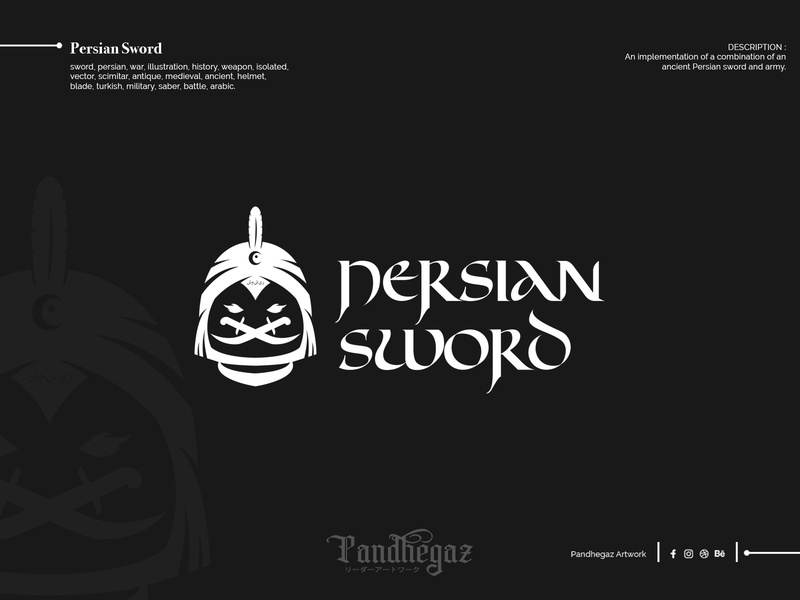 Persian Sword arabic double meaning logo dual meaning logo negative space logo pandhegaz turkish blade helmet ancient medieval antique scimitar vector isolated weapon history illustration war persian sword
