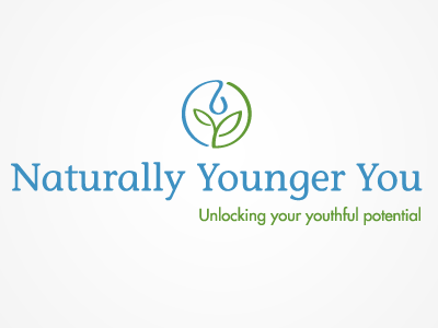 Naturally Younger You logo skin care logo leaf water lotion youth natural health