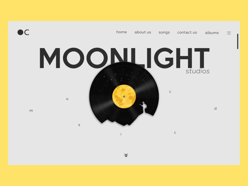 Moonlight studios music CD webpage lettering illustration illustrator typography ux website design webpage design app design vector web design ui  ux ui minimal webdesign clean flat userinterface user experience uidesign