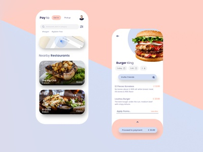 Pay to Eat Food App UI