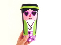 Coffee Cup Character 3 : Unenthused Hippie