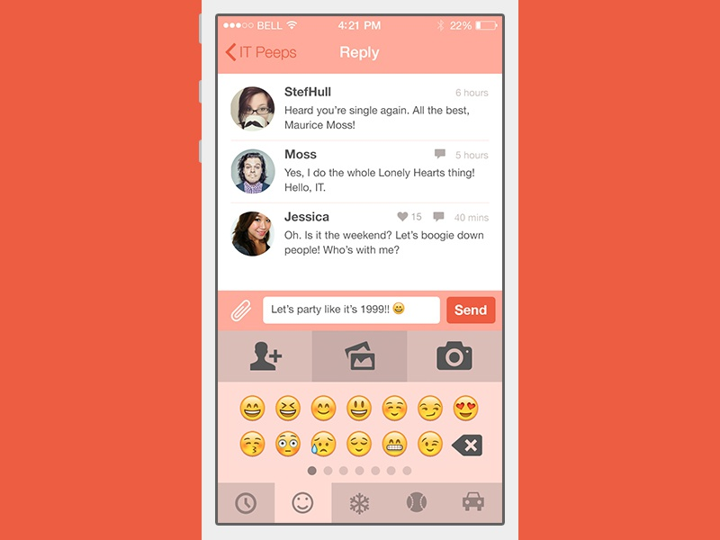 Chat app iOS - emoji by Siska Hines on Dribbble