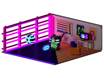 Holoball Voxel Room blender3d magicavoxel vr neon voxel art voxelart voxels