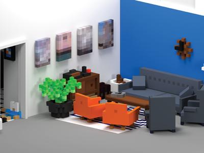 gskinner voxel living room final render