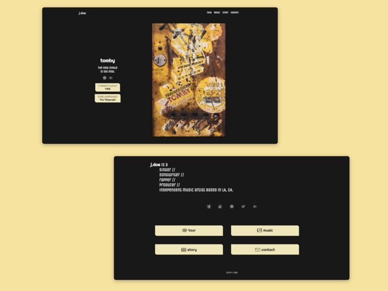 UI - Music Artist dark clean minimal design web design web ui ux