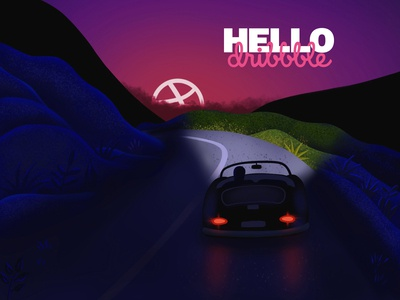 Dribbble Debut Shot – Night Driving Illustration