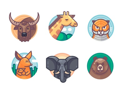 Animals set vectorart bear elephant kangaroo tiger giraffe yak bull animal vector icon flat illustration