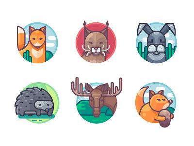 Animals set. Part 2 wild cat lynx hendgehog elk squirrel rabbit fox art animal icon illustration vectorart vector