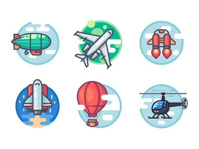 Aircrafts rocket jetpack icon artwork vectorart shuttle spaceship art cloud vector illustration helicopter airplane balloon airship