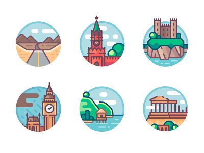 Landmarks illustrations set. Part 3 greece parthenon london island castle ireland kremlin road moscow building city sight landmark travel logo artwork vector illustration icon flat