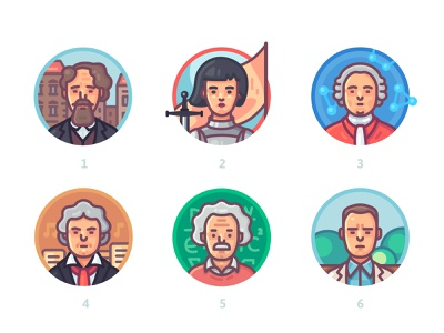 Famous historical figures. Who are they? head individual face women beard hat famous figure man people portrait logo artwork vector art vector illustration icon flat