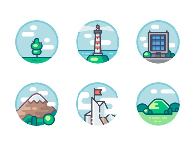 Set of different heights objects office landscape heights top thee lighthouse building flag mountain ascent hill artwork vector art vector illustration icon flat