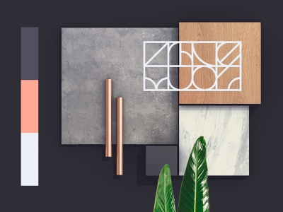 Colors and textures stone wood marble concrete design collage shop leaf store showroom 3d interior identity brand branding pattern textures materials palette