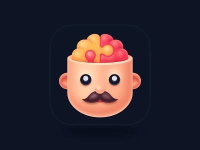 Brain Puzzle Games App Icon funny branding application illustraion skull moustache game puzzle brain man head logo iphone app ios icon
