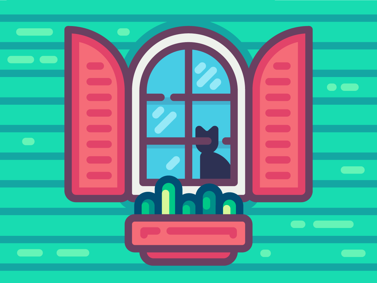 Welcome! cute wood glass illustration frame plant cozy kitty welcome house shutters flat window cat