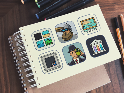 iOS app icon sketches notebook picture art flat iphone launcher ios icon draft sketchbook sketches