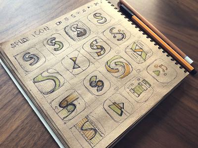 Splice Icon applicaiton draft sketch apple monogram letter video application branding symbol logo s flat app ios icon