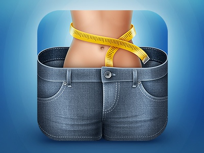 iDiet iOS icon iphone icon ipad icon ios icon diet counting calories blue jeans shorts figure body woman sex meter