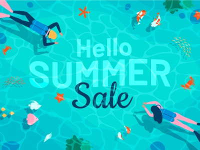 Summer sale summer underwater sales sale banner design banner ad banner characters flat illustration design flat character design vector illustration