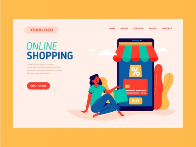 Online shopping web landing page design landing page characters flat illustration design flat character design vector illustration