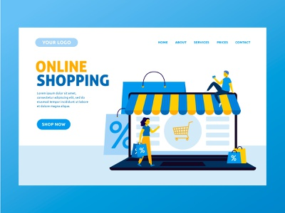 Online shopping landing page people landing page design landing page characters flat illustration design flat character design vector illustration
