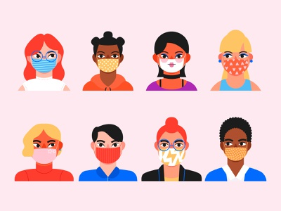 People wearing face masks covid-19 masks face mask covid coronavirus flat design people characters design flat illustration flat character design vector illustration