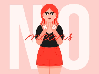 NO means NO conceptual stop violence concept metoo flat design people characters flat illustration design flat character design vector illustration