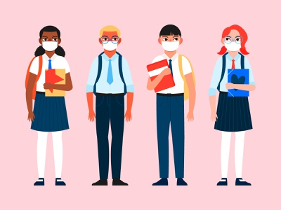 Students wearing face masks flat design covid masks students people characters flat illustration design flat character design vector illustration