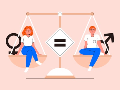 Equality concept couple flat design people characters flat illustration flat design character design vector illustration