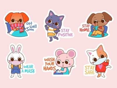 Coronavirus Stickers animals illustrated covid19 coronavirus animals stickers illustration adobe illustrator flat illustration characters flat character design vector colorful