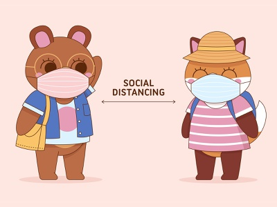 Social Distancing characters character design animals illustrated flat design adobe illustrator flat illustration flat vector illustration warning animals social distancing covid19 coronavirus