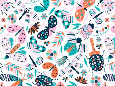 Colorful insects pattern patterns flowers design pattern design adobe illustrator flat design flat illustration flat illustration vector seamless pattern colorful pattern bugs insects