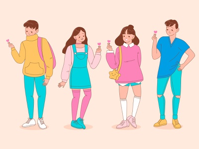 People doing finger heart / k-pop adobe illustrator people flat design characters design character design flat illustration flat vector illustration