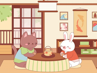 Cute animals in a Japanese living room pastel kawaii japanese japan animals illustrated animals adobe illustrator characters character design flat illustration flat vector illustration
