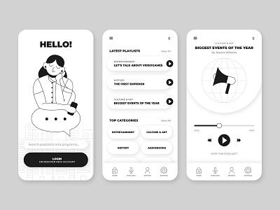 Colorless podcast app design people adobe illustrator design podcast ui flat design character design flat illustration flat vector illustration