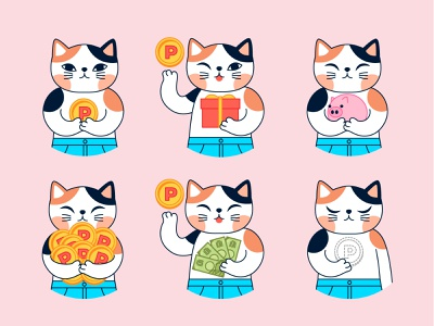 Japanese cat character stickers animals illustrated flat design japanese cat design stickers characters character design flat illustration flat vector illustration
