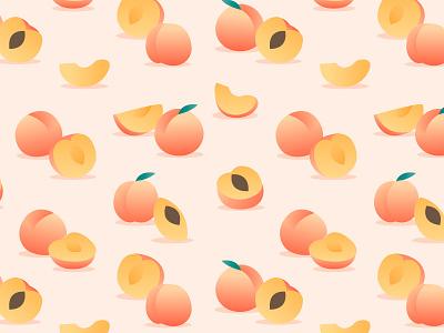 Peach pattern fruit peach pattern design flat illustration vector