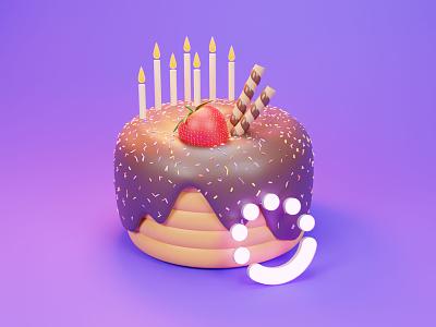 Delicious birthday cake graphic design cake 3dart blender modeling 3d minimal flat design armin arminkhorsandipour