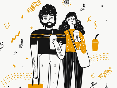 Hipster couple valentine lover couple hand drawing doodle
