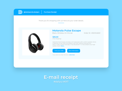 100 Days of UI Challenge - Daily UI - day 17 - E-mail Receipt